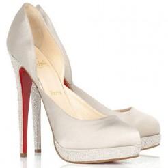 Replica Christian Louboutin Eugenie 120mm Pumps White Cheap Fake Shoes