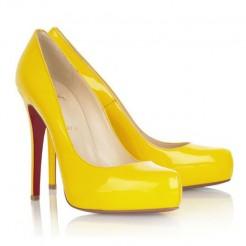 Replica Christian Louboutin Rolando 120mm Pumps Yellow Cheap Fake Shoes