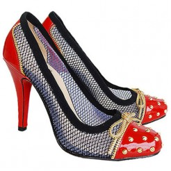 Replica Christian Louboutin Candy Lace 120mm Pumps Red Cheap Fake Shoes