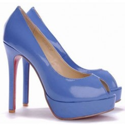 Replica Christian Louboutin Altadama 140mm Peep Toe Pumps Blue Cheap Fake Shoes