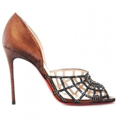 Replica Christian Louboutin Aranea 100mm Peep Toe Pumps Brown Cheap Fake Shoes