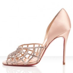 Replica Christian Louboutin Aranea 100mm Peep Toe Pumps Nude Cheap Fake Shoes