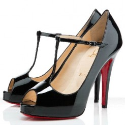 Replica Christian Louboutin Burlina 120mm Peep Toe Pumps Black Cheap Fake Shoes