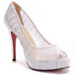 Replica Christian Louboutin Champagne Chiffon Ambrosina 120mm Peep Toe Pumps White Cheap Fake Shoes
