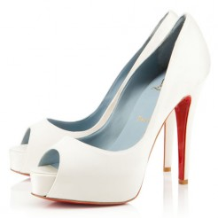 Replica Christian Louboutin Hyper Prive 120mm Special Occasion Off White Cheap Fake Shoes