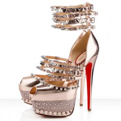 Replica Christian Louboutin Isolde 160mm Peep Toe Pumps Gold Cheap Fake Shoes