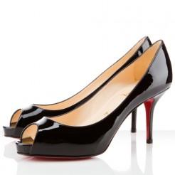 Replica Christian Louboutin Mater Claude 80mm Peep Toe Pumps Black Cheap Fake Shoes