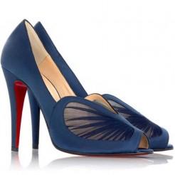 Replica Christian Louboutin Papilipi 100mm Peep Toe Pumps Blue Cheap Fake Shoes