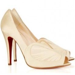 Replica Christian Louboutin Papilipi 100mm Peep Toe Pumps White Cheap Fake Shoes