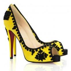 Replica Christian Louboutin Very Brode 120mm Peep Toe Pumps Yellow Cheap Fake Shoes