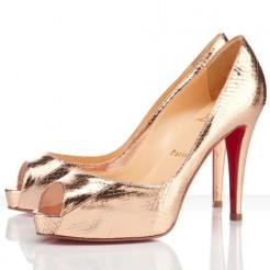 Replica Christian Louboutin Very Prive 100mm Peep Toe Pumps Gold Cheap Fake Shoes