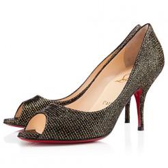 Replica Christian Louboutin Yo Yo 80mm Peep Toe Pumps Black Cheap Fake Shoes