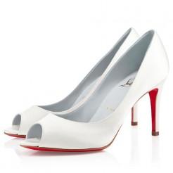Replica Christian Louboutin You You 80mm Peep Toe Pumps Off White Cheap Fake Shoes