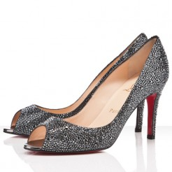 Replica Christian Louboutin You You 80mm Peep Toe Pumps Hematite Cheap Fake Shoes