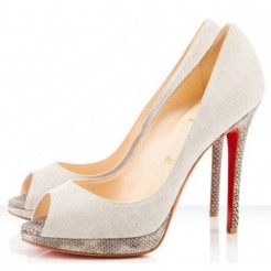Replica Christian Louboutin Yolanda 120mm Peep Toe Pumps Beige Cheap Fake Shoes