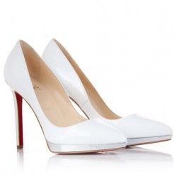 Replica Christian Louboutin Pigalle Plato 120mm Pumps White Cheap Fake Shoes