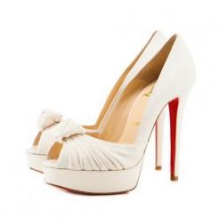 Replica Christian Louboutin Greissimo 140mm Peep Toe Pumps White Cheap Fake Shoes