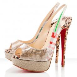 Replica Christian Louboutin Ecotrash 140mm Slingbacks Multicolor Cheap Fake Shoes