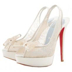 Replica Christian Louboutin Exclu 140mm Slingbacks White Cheap Fake Shoes