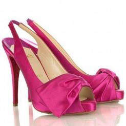 Replica Christian Louboutin Very Noeud 120mm Slingbacks Rose Matador Cheap Fake Shoes