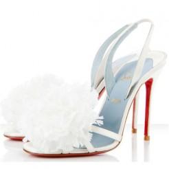 Replica Christian Louboutin Tsarouchi 100mm Slingbacks White Cheap Fake Shoes
