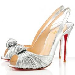 Replica Christian Louboutin Jenny 100mm Slingbacks Silver Cheap Fake Shoes