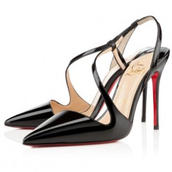 Replica Christian Louboutin June 100mm Slingbacks Black Cheap Fake Shoes