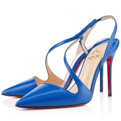 Replica Christian Louboutin June 100mm Slingbacks Blue Cheap Fake Shoes