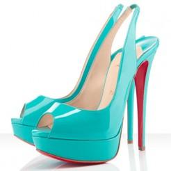 Replica Christian Louboutin Lady Peep 140mm Slingbacks Turquoise Cheap Fake Shoes