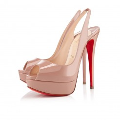 Replica Christian Louboutin Lady Peep 140mm Slingbacks Nude Cheap Fake Shoes