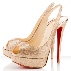 Replica Christian Louboutin Lady Peep 140mm Slingbacks Gold Cheap Fake Shoes