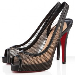 Replica Christian Louboutin Canne A Peche 120mm Slingbacks Black Cheap Fake Shoes