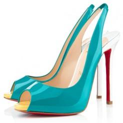 Replica Christian Louboutin Flo 100mm Slingbacks Caraibes Canari Cheap Fake Shoes