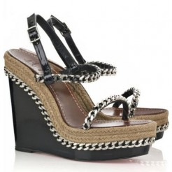 Replica Christian Louboutin Macarena 120mm Wedges Black Cheap Fake Shoes