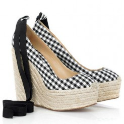 Replica Christian Louboutin Formentera Gingham 140mm Wedges Black/White Cheap Fake Shoes