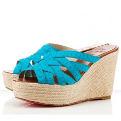 Replica Christian Louboutin Crepon 100mm Wedges Turquoise Cheap Fake Shoes