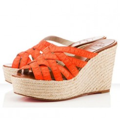 Replica Christian Louboutin Crepon 100mm Wedges Orange Cheap Fake Shoes