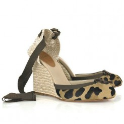 Replica Christian Louboutin Carino 100mm Wedges Leopard Cheap Fake Shoes
