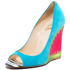 Replica Christian Louboutin Miramar 100mm Wedges Blue Cheap Fake Shoes
