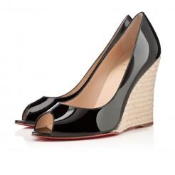 Replica Christian Louboutin puglia 100mm Wedges Black Cheap Fake Shoes