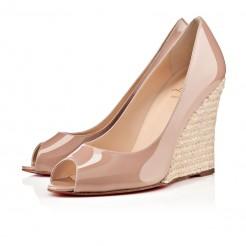 Replica Christian Louboutin puglia 100mm Wedges Nude Cheap Fake Shoes