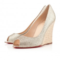 Replica Christian Louboutin puglia 100mm Wedges Gold Cheap Fake Shoes