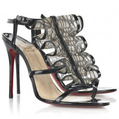 Replica Christian Louboutin Fortitia 100mm Sandals Black Cheap Fake Shoes