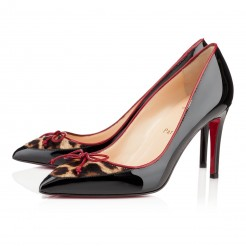 Replica Christian Louboutin Lady Pesch 80mm Pumps Black/Leopard Cheap Fake Shoes