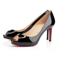 Replica Christian Louboutin No Matter 80mm Peep Toe Pumps Black Cheap Fake Shoes