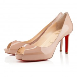 Replica Christian Louboutin No Matter 80mm Peep Toe Pumps Nude Cheap Fake Shoes