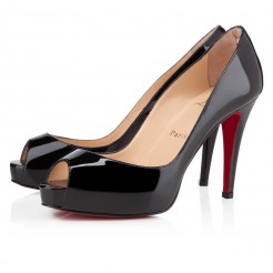 Replica Christian Louboutin Very Prive 100mm Peep Toe Pumps Black Cheap Fake Shoes