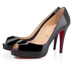 Replica Christian Louboutin Very Prive 100mm Peep Toe Pumps Black Cheap Fake Shoes