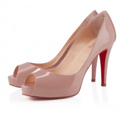 Replica Christian Louboutin Very Prive 100mm Peep Toe Pumps Nude Cheap Fake Shoes