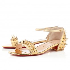 Replica Christian Louboutin Druide Flat Sandals Gold Cheap Fake Shoes